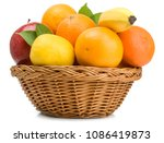 Fruits In Basket Isolated On...