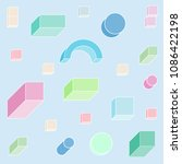 isometric 3d shapes pattern in... | Shutterstock .eps vector #1086422198