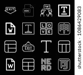 outline set of 16 word icons... | Shutterstock .eps vector #1086429083