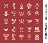 outline set of 25 award icons... | Shutterstock .eps vector #1086429608