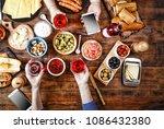 dinner table. various snacks...   Shutterstock . vector #1086432380