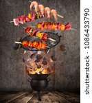 kettle grill with hot... | Shutterstock . vector #1086433790
