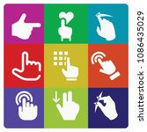 filled set of 9 gestures icons... | Shutterstock .eps vector #1086435029