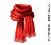 vector 3d realistic silk red... | Shutterstock .eps vector #1086436100