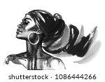 watercolor beauty african woman.... | Shutterstock . vector #1086444266