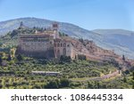 view of assisi old city umbria... | Shutterstock . vector #1086445334