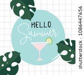 hello summer retro greeting... | Shutterstock .eps vector #1086447656