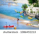 young people boating on river ... | Shutterstock . vector #1086452213
