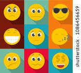 emotional color icons set. flat ... | Shutterstock . vector #1086456659