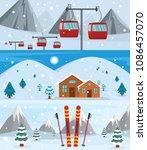 resort hotel winter banner... | Shutterstock . vector #1086457070