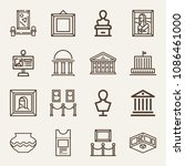 set of 16 museum outline icons... | Shutterstock .eps vector #1086461000
