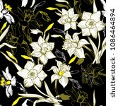 floral seamless pattern with... | Shutterstock .eps vector #1086464894