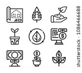 set of 9 plant outline icons... | Shutterstock .eps vector #1086466688