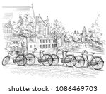 bicycles on bridge over the... | Shutterstock .eps vector #1086469703