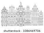 grand place in brussels ... | Shutterstock .eps vector #1086469706