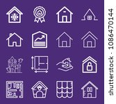 set of 16 house outline icons... | Shutterstock .eps vector #1086470144