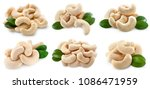 cashew collection isolated on... | Shutterstock . vector #1086471959