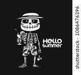 hello summer  hipster skeleton... | Shutterstock .eps vector #1086476396