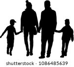 family of silhouettes. | Shutterstock .eps vector #1086485639