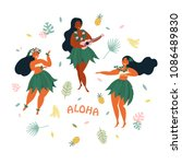 three hawaiian girls are... | Shutterstock .eps vector #1086489830