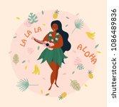 hula singer girl. hawaiian plus ... | Shutterstock .eps vector #1086489836