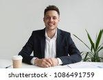 smiling friendly millennial... | Shutterstock . vector #1086491759