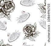 white swans  monochrome rose... | Shutterstock .eps vector #1086496703