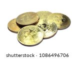 stack of physical bitcoins ... | Shutterstock . vector #1086496706