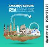 europe famous landmark paper... | Shutterstock .eps vector #1086498884
