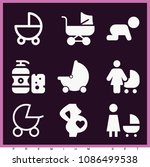 set of 9 baby filled icons such ... | Shutterstock .eps vector #1086499538