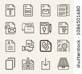 set of 16 file outline icons... | Shutterstock .eps vector #1086501680