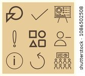 set of 9 circle outline icons...   Shutterstock .eps vector #1086502508