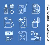 set of 9 petrol outline icons... | Shutterstock .eps vector #1086502988