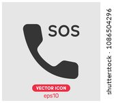 sos phone sign vector icon...