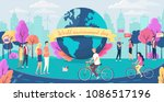 world environment day. people... | Shutterstock .eps vector #1086517196