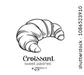 vector hand drawn croissant... | Shutterstock .eps vector #1086523910