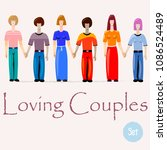 set of loving couples.... | Shutterstock .eps vector #1086524489