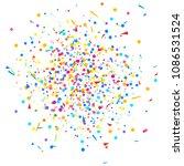 multicolored confetti on white. ... | Shutterstock .eps vector #1086531524