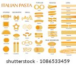 pasta shapes vector icons of... | Shutterstock .eps vector #1086533459