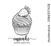 vector hand drawn cupcake icon. ... | Shutterstock .eps vector #1086537428