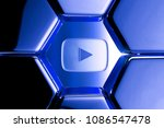 blue metallic youtube play icon ...