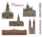 france famous travel landmark... | Shutterstock .eps vector #1086553880