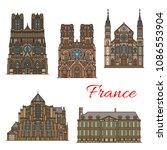 france famous travel landmark... | Shutterstock .eps vector #1086553904