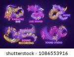 music note neon light sign for... | Shutterstock .eps vector #1086553916