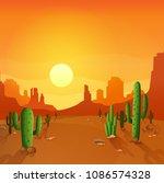 desert landscape with cactuses...   Shutterstock .eps vector #1086574328
