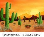 desert landscape background... | Shutterstock .eps vector #1086574349