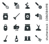 black vector icon set sowing...   Shutterstock .eps vector #1086584498