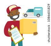 a black man courier delivers a... | Shutterstock .eps vector #1086601829