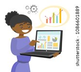 black woman showing charts on... | Shutterstock .eps vector #1086601889