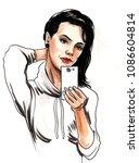 pretty girl taking selfie with... | Shutterstock . vector #1086604814